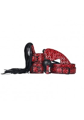 5PS/lot  Role Play Faux Leather Fetish Restraint Bondage Kit Mask Ball Gag Hand Cuffs Whip Collar with Leash Sex Costumes Toys