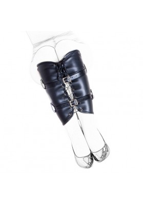 Black Adjustable Women Bondage Calf Restraint , Fetish Leg Binder,Leather Role Play Sex Products