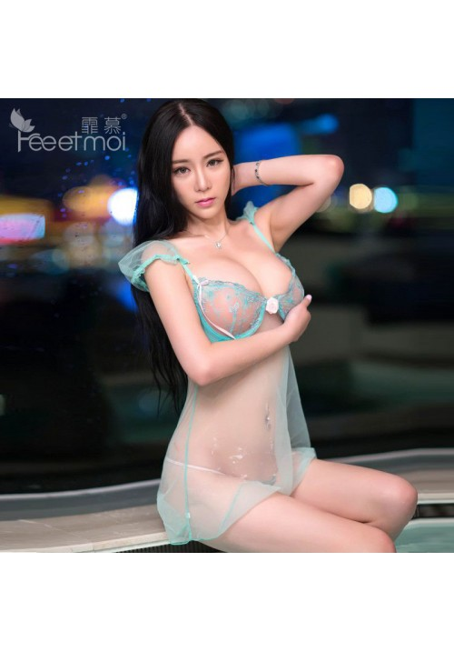 2015 High Quality Brand Pajama Sets Green  Sexy Sleepwear Pajama for women