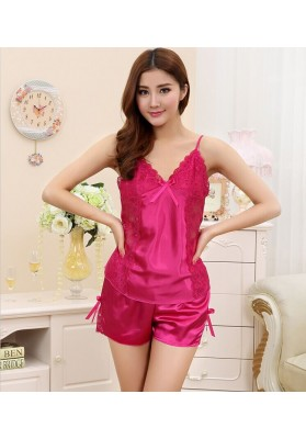 6 Color New arrival Women Silk Sleepwear Sests