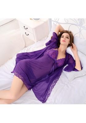 Free Shipping Sexy Sleepwear ,Purple Sexy Lingerie Set,Women Nightwear,Sexy Dress,Open crotch Intimates Lingerie Plus Size