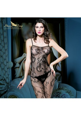 Hot Selling Sexy Lingerie Women Black Sexy Bodystocking Open Crotch Bodysuit