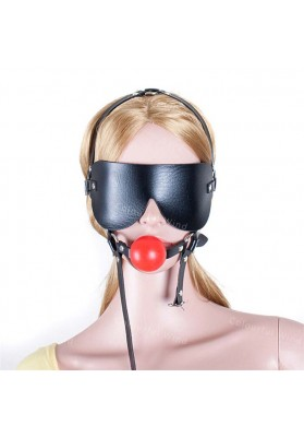Adult Sex Product Mouth Ball Gag Harness Bondage Restraints Leather Blindfold Sexy Toy for Couples S&M Game