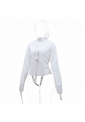 Womens Straitjacket Faux Leather Strict Bondage Kinky Fancy Straight Jacket Fetish Costumes Sex Bondage Training Adult Sex Toys