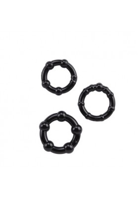 3pcs Delay Silicone Penis Ring ,Triple  Black  Cock Rings With a Bead ,Sex Toys For Man,Male Adult Products Sex Toys
