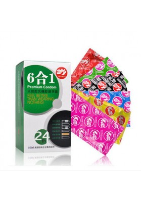 6 Kinds In1  24PS  Natural Latex Thread  Granulate G-spot Stimulating Condoms,Sex Toy for Men,Contraceptive Sex Products