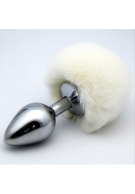 Bunny Pompon Butt Plug Stainless Steel Metal Butt Plug in Small Size 7*2.8cm,Sexual Anus Rabbit's Tail for Adults Sex Products