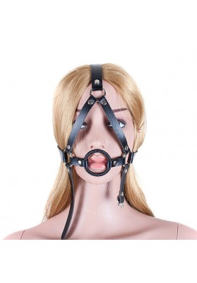 Black Fetish Bondage Full Head Harness Restraint  O Ring Open Mouth Gag For Woman and Man Leather Erotic Sex Toys for Couples