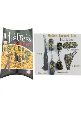 Bondage Kit Exotic toys For Couples, 5pcs /set Artificial Leather Golden Leopard  Line Set:cuffs  Whip Blindfold G-string