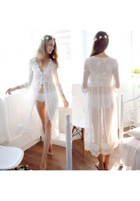 High-end Lace Sexy Night Gown Women Robe Sexy Lingerie Hot Sleepwear Sex Costumes Dress Nightgown Sex toy Sex Product for Women