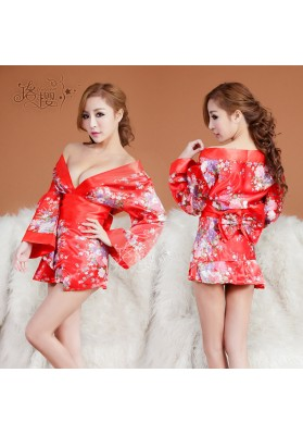 Sakura Sexy Lingerie Kimono Dress Set with Thong Sexy Nightclub Intimate Sleepwear Robe Sexy Night Gown Bathrobes evening dress