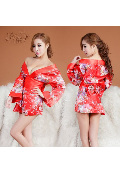 Sakura Sexy Lingerie Kimono Dress Set with Thong Sexy Nightclub Intimate Sleepwear Robe Sexy Night Gown Bathrobes evening dress