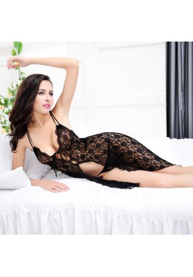 See-through lace open front sleep dress teddy Underwear Suits with G-string Backless Underclothes Nightwear Sleepwear,Sex toys