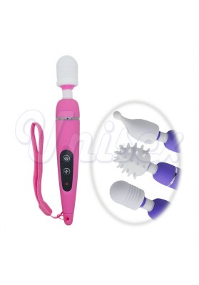10 Modes Vibrating USB Rechargeable Magic AV Wands w/ 2 Accessories Headgears, Sex Toys Body Massager Adult Products