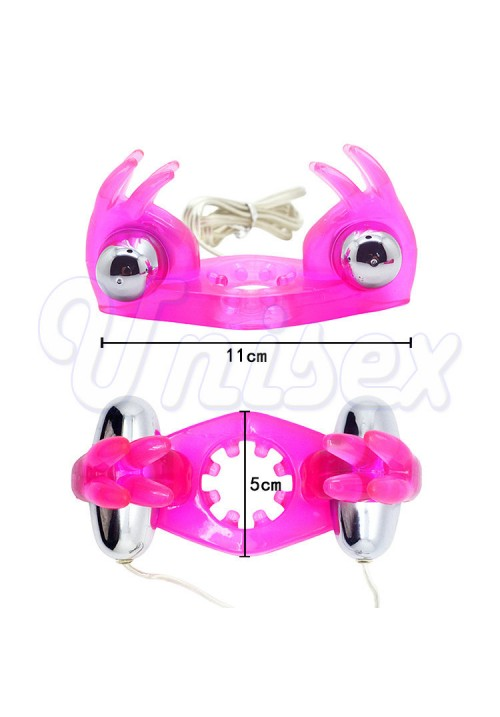 8 Ears Twin Rabbit Powerful Motors Multi-speed Vibrating Cock Rings for Man, Anal & Clitoral Stimulating Penis Rings for Couple