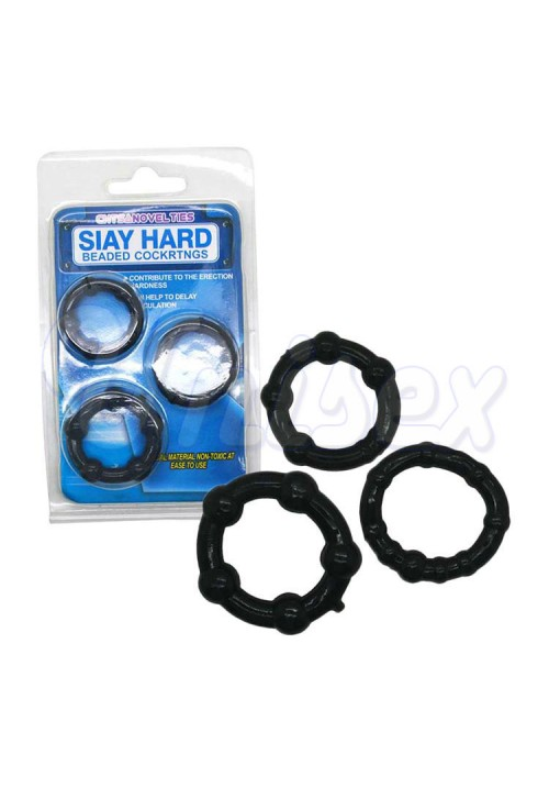 ( Black ) Stay Hard Beaded Triple Cock Rings Set Time Delay Penis Rings for Man, Erotic Sex Toys Adult Sex Products for Couple