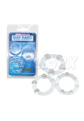 ( Jelly ) Stay Hard Beaded Triple Time Delay Penis Rings Cock Rings Set for Man, Adult Sex Products for Couple Erotic Sex Toys