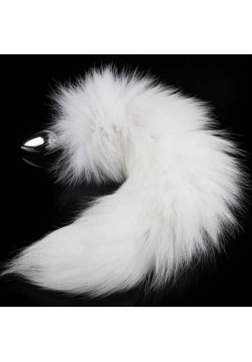 Fetish Fantasy Valentine / Birthday Gift Special Sex Toy Wild Stainless Steel White Fox Tail's Butt Plug Anal Sex Toys