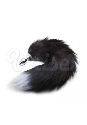 Enchanting Black Fox Tail Soft Artificial Wool Metal Anal Sex Toys for Couple Cosplay, Adult Butt Plug Erotic Sex Products
