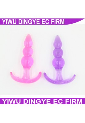 2015 New Cheap Adult Butt Plug Anal Beads Sex Toys Anal Plugs Soft Jelly Anal Toys Butt Plug Set for Beginners