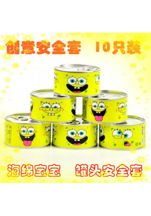 10 Pieces/Can Creative Condom Spongebob Squarepants Canned Condoms Funny Adult Sex Products Exotic Gift Passion Condoms Random