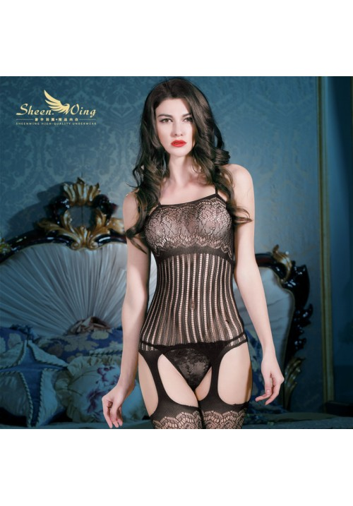 2015 New Sex Body Suit Women's Striped Fishnet Bodystocking  Sexy Lingerie Sexy Nightwear