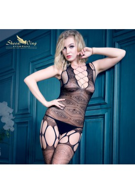 2015 Quality Sexy Lingerie Hot Open Crotch Bodystocking For Women Black Body Stocking
