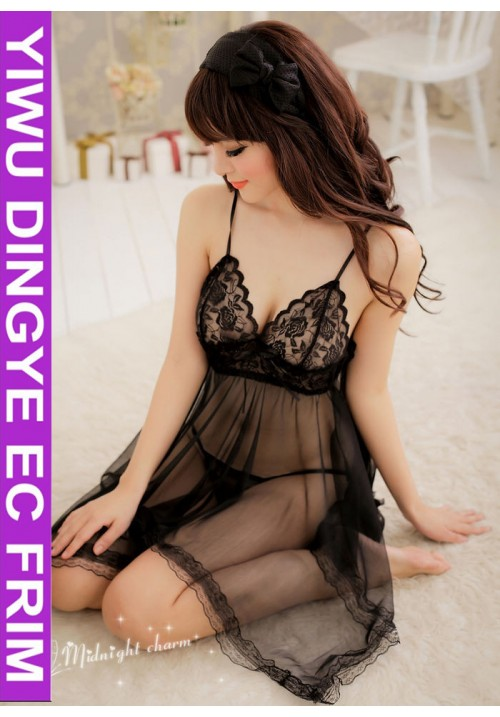 Hot Selling Black Babydoll  Lace Sex Sexy Lingerie