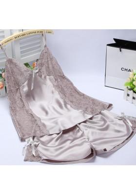 Sexy Silk Nightgowns pijama onesie Silk Sleepwear Pajamas Set