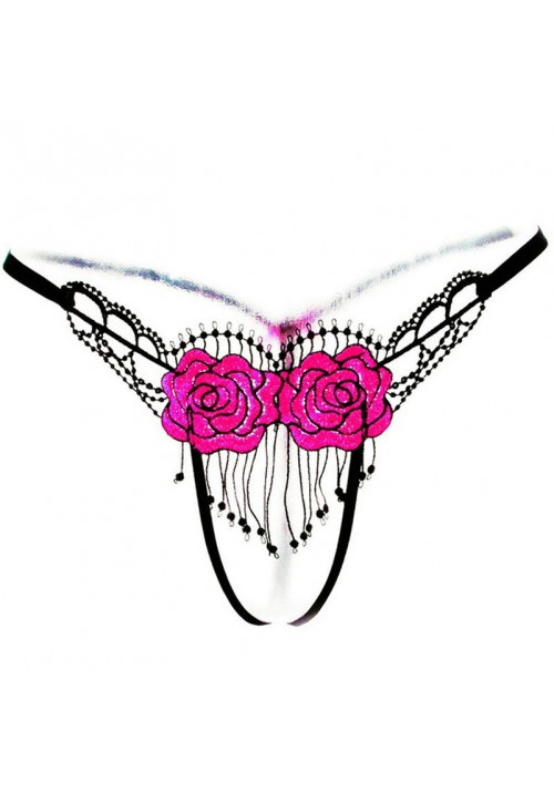 Flower Embroidery Tassel Open Crotch G-string Women Underpants Sexy G-string Briefs Thongs Panties Lingerie Underwear