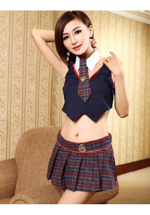 Women Exotic Apparel  Sexy Lingerie England Style School Student Skirt Costumes Uniform Underwear Cosplay Dress